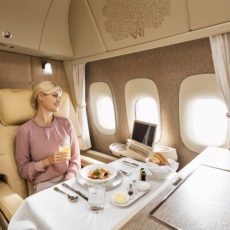 First Class dining on Emirates
