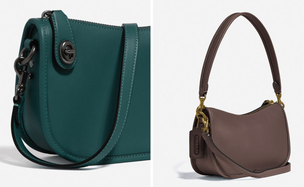 The coach swinger bag green and brown