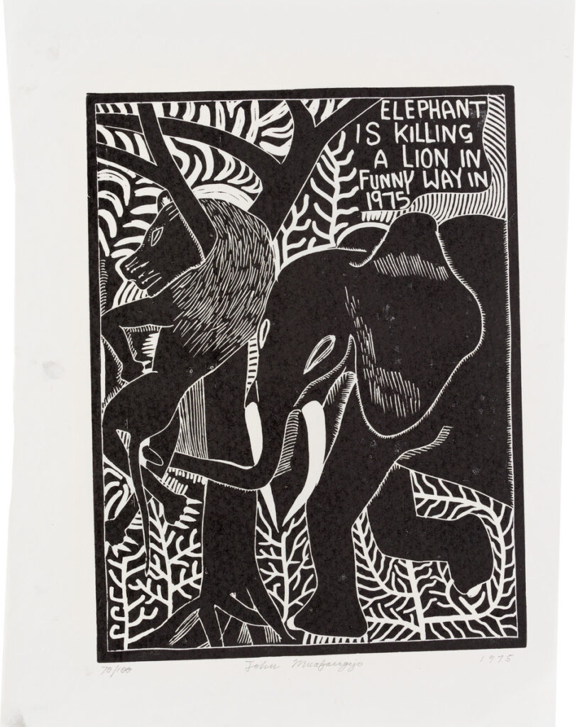 John Muafangejo Elephant is Killing in a Funny Way