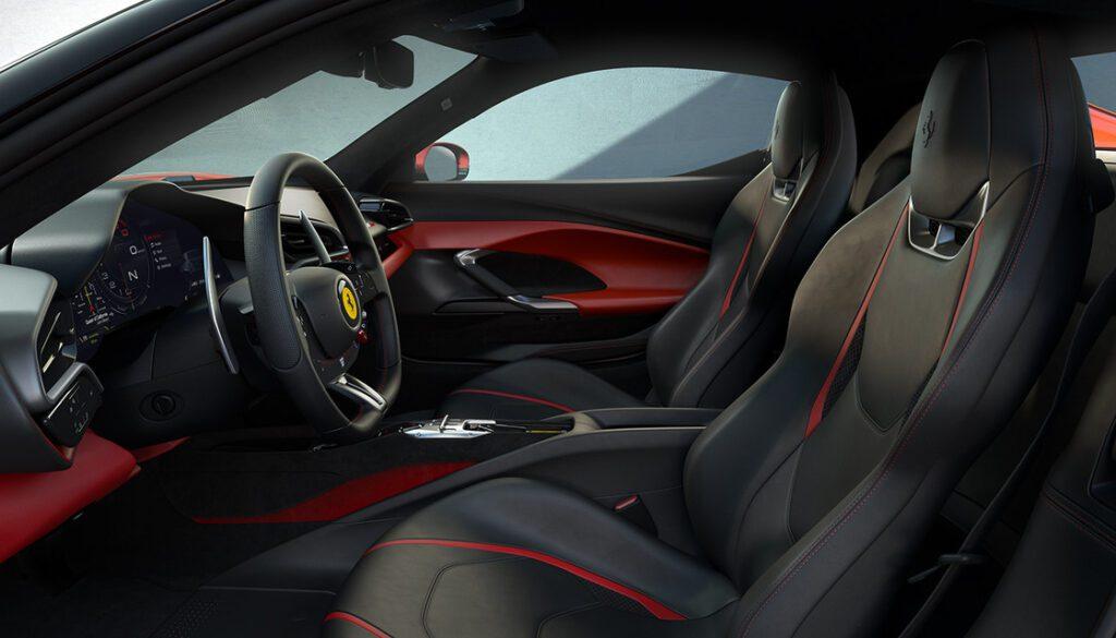 Interior styling of the Ferrari 296 GTB